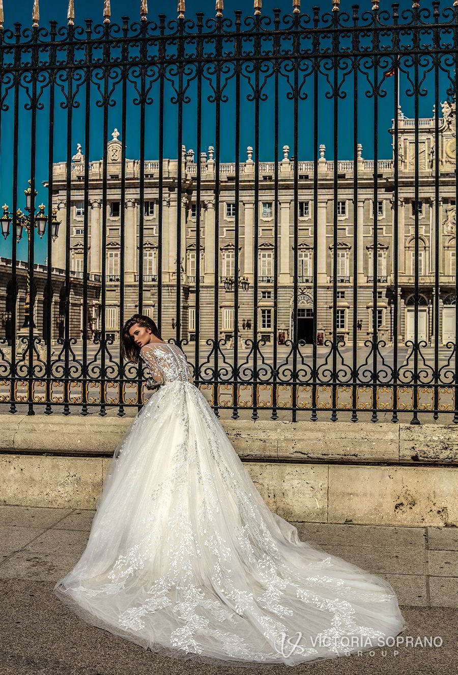 victoria soprano 2018 bridal long sleeves illusion jewel sweetheart neckline heavily embellished bodice princess ball gown a line wedding dress sheer lace back chapel train (felicity) bv