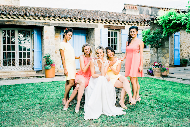 Bridesmaids with mismatched bridesmaids dresses
