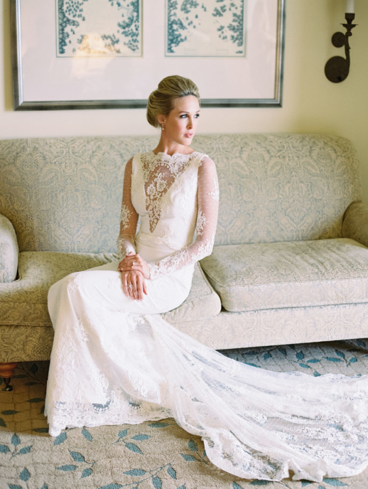 an illusion plunging neckline covered with floral lace looks amazing