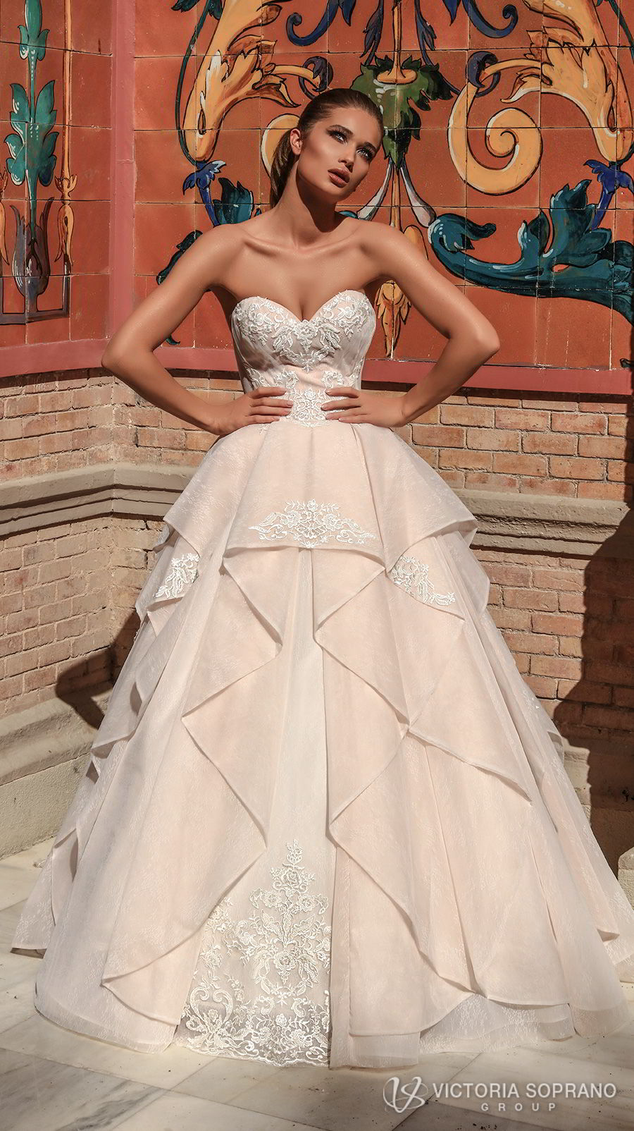 victoria soprano 2018 bridal strapless sweetheart neckline heavily embellished bodice romantic princess blush ball gown a line wedding dress chapel train (chantal) mv