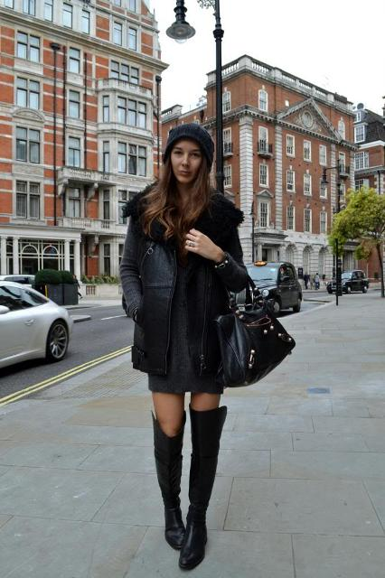 With mini dress, leather boots and black bag