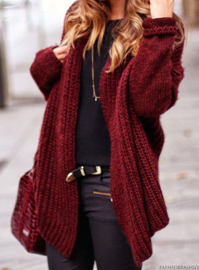 street-style-oversized-burgundy-cardigan-1-e1463652295522 Top 70 Fall Outfits for Teen Girls to Copy This Year