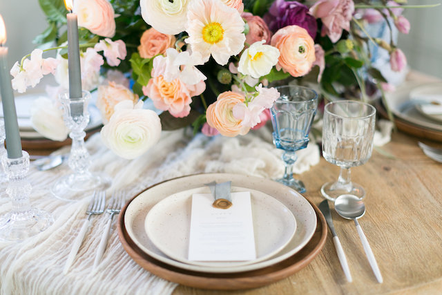 Poppy and ranunculus floral centerpiece