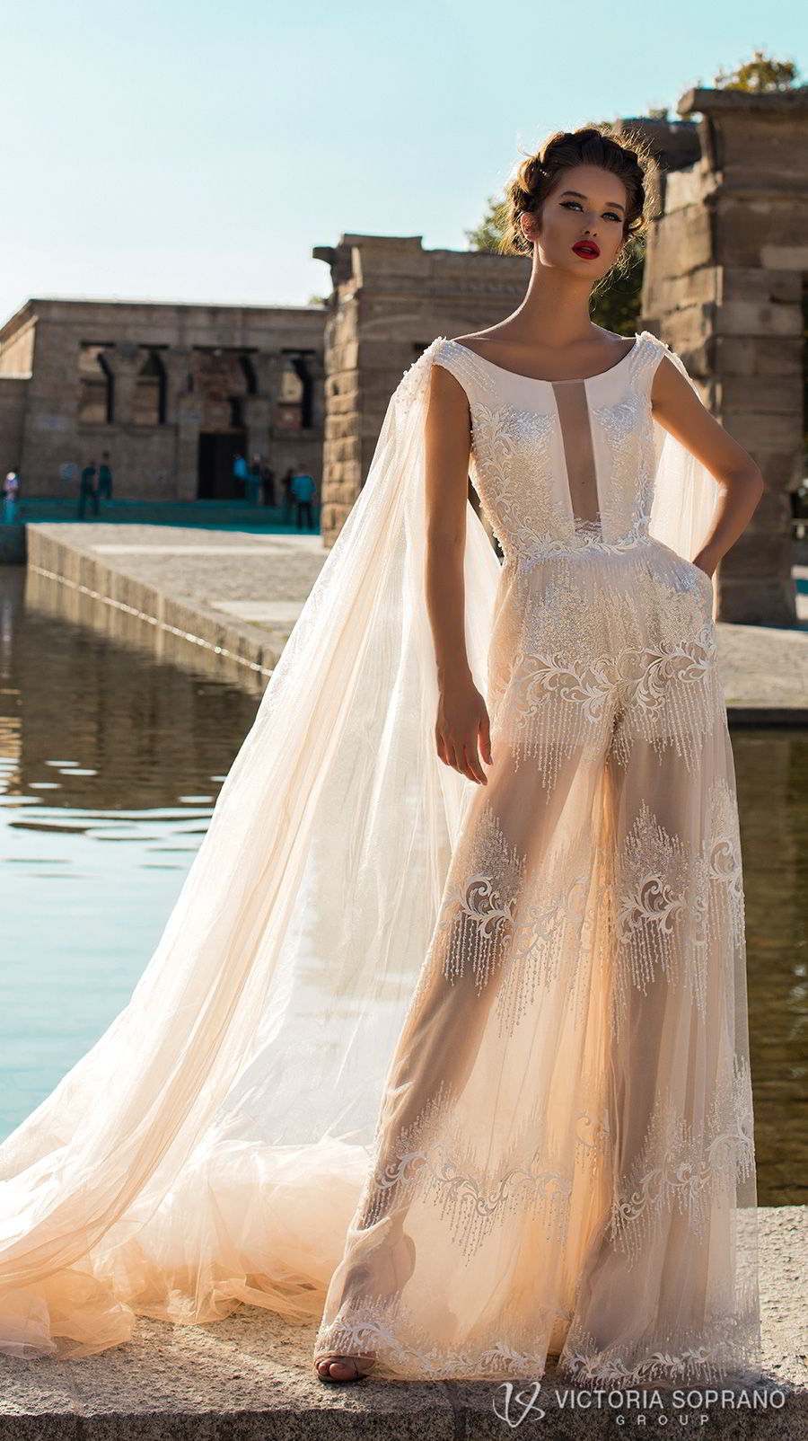 victoria soprano 2018 bridal cap sleeves bateau neckline full embellishment modern champagne color soft a line wedding dress v back chapel cape train (emma) mv