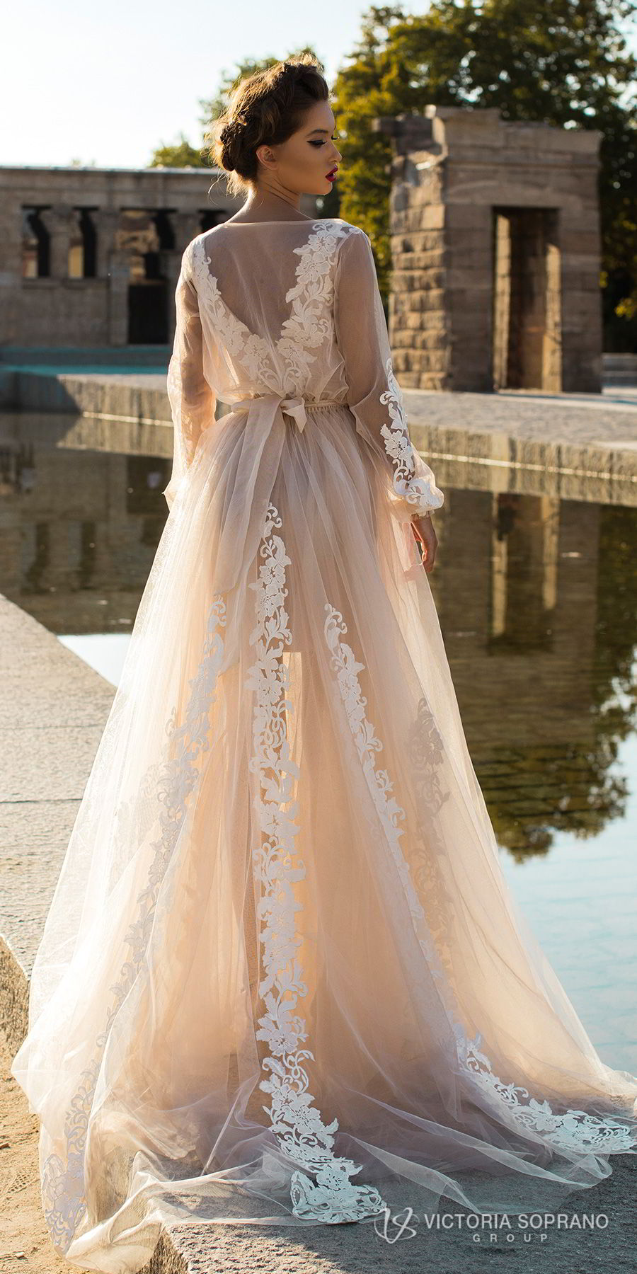 victoria soprano 2018 bridal long sleeves illuson bateau v neck light embellishment romantic blush color a line wedding dress sheer back sweep train (leila) bv
