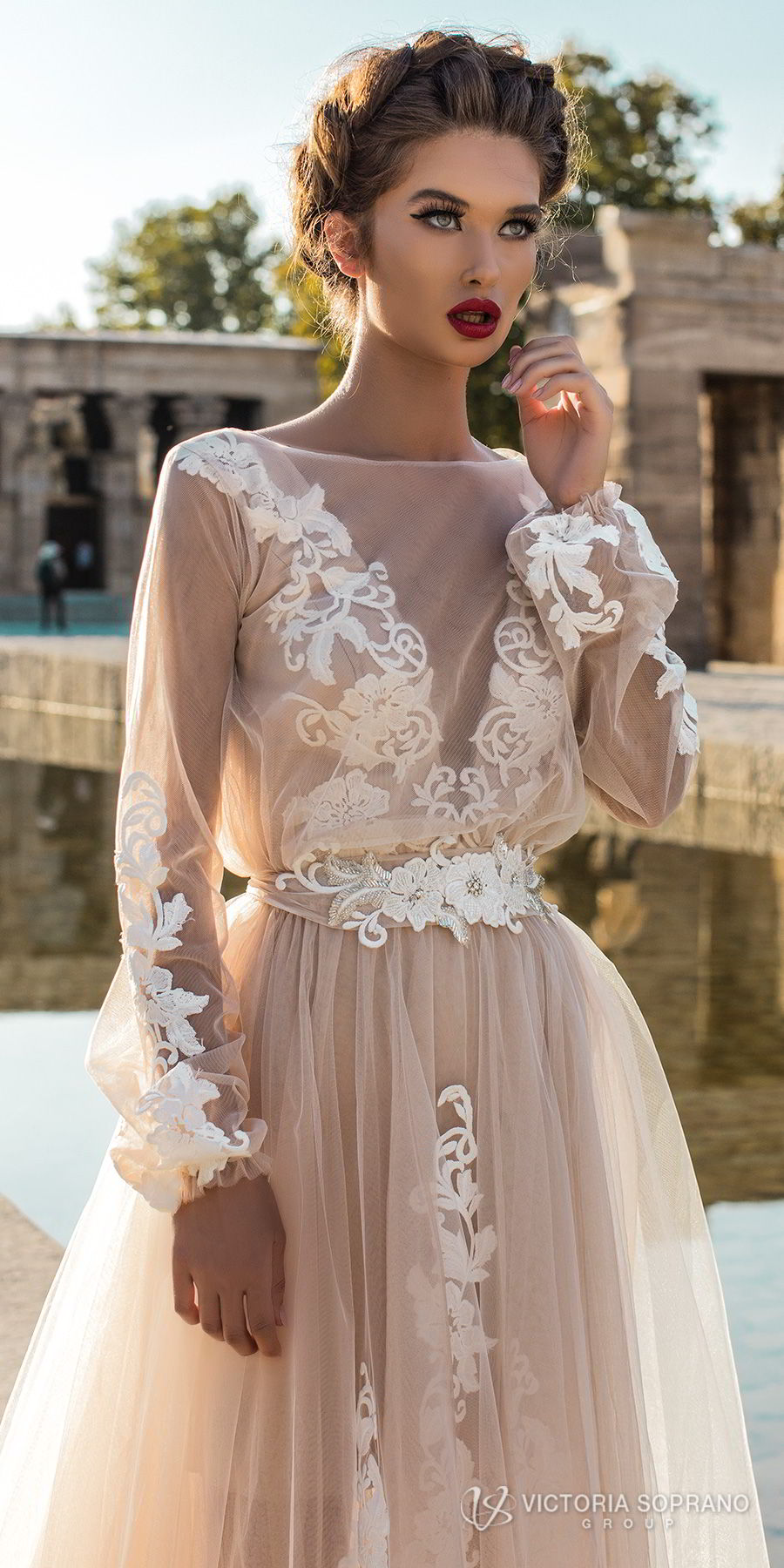 victoria soprano 2018 bridal long sleeves illuson bateau v neck light embellishment romantic blush color a line wedding dress sheer back sweep train (leila) zv
