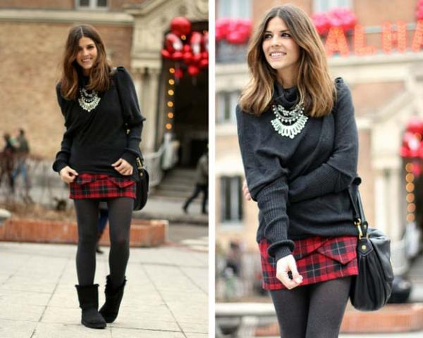 With black sweater, plaid skirt, gray tights and leather bag