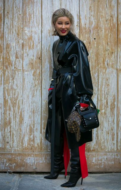 With black high boots, red dress and bag