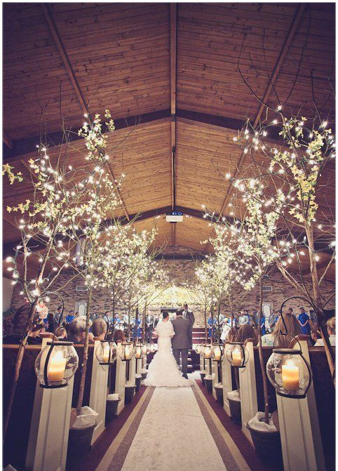 lit up trees are perfect for lining up the aisle, this is pure magic