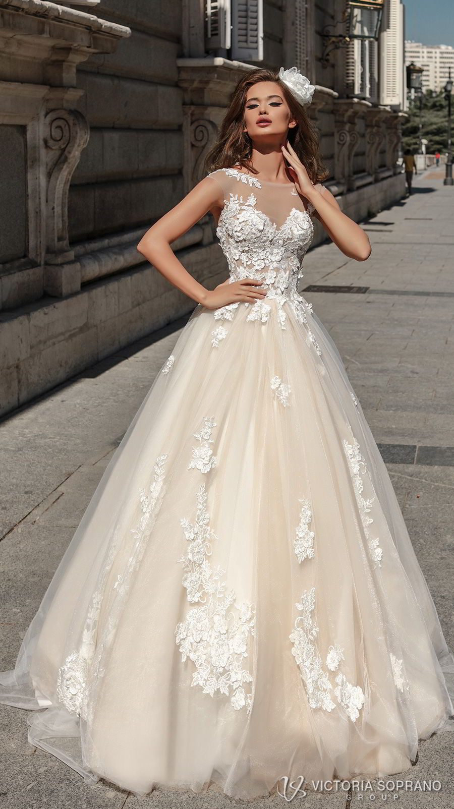 victoria soprano 2018 bridal sleeveless illusion jewel sweetheart neckline heavily embellished bodice romantic blush color a line wedding dress sheer lace back chapel train (selena) mv