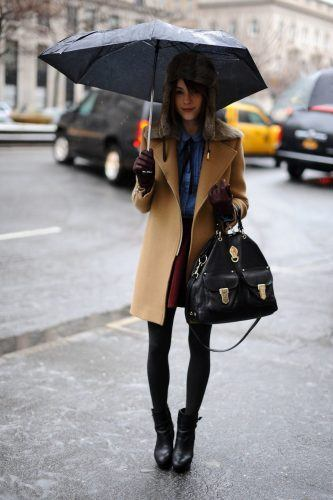 fashion-2015-10-rainy-day-outfit-idea-trapper-hat-main-333x500 25 Ideas on what to wear to work when its raining