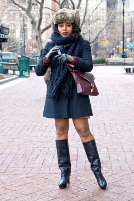 With mini coat, leather high boots and marsala bag