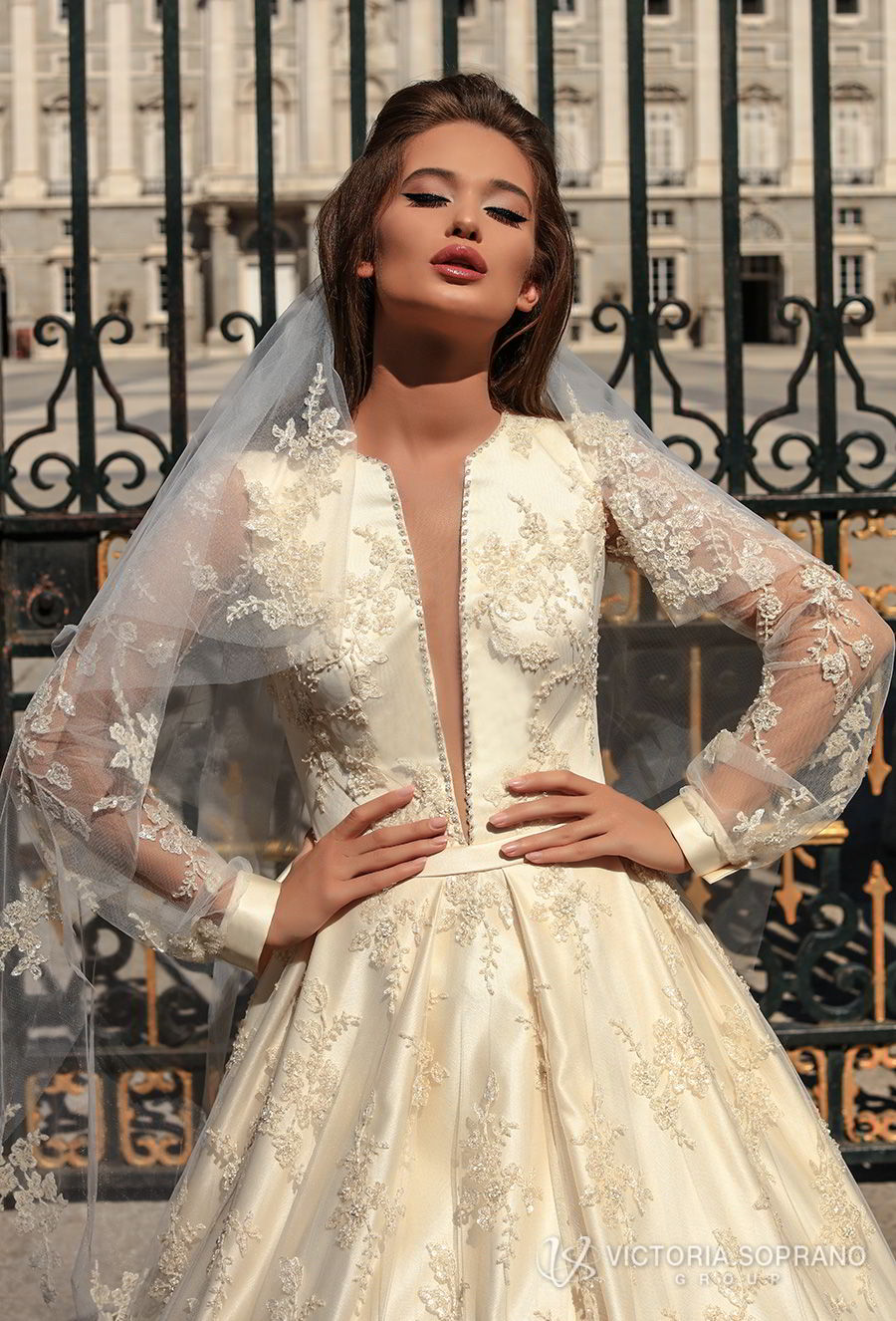 victoria soprano 2018 bridal long bishop sleeves deep plunging v neck full embellishment princess ball gown a line wedding dress covered lace back chapel train (blair) zv