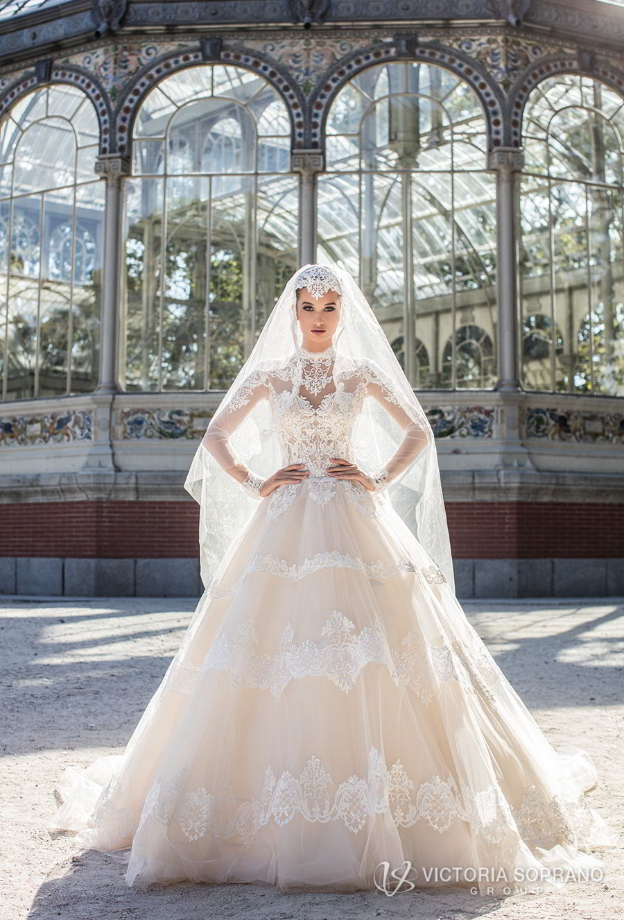victoria soprano 2018 bridal long sleeves illusion high neck sweetheart neckline heavily embellished bodice princess a line wedding dress sheer lace back chapel train (monique) mv