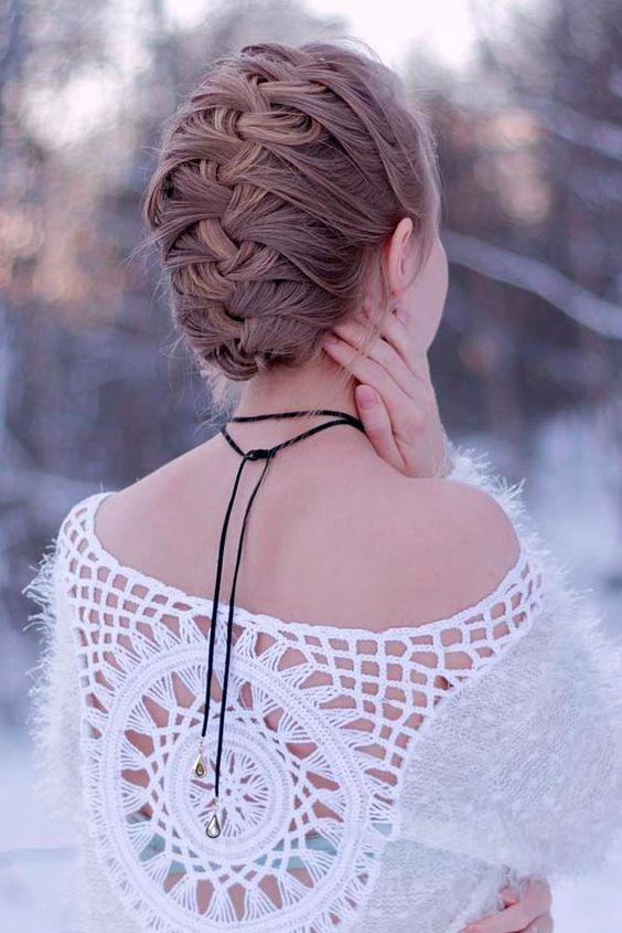 a simple braided updo is suitable even for not very long hair
