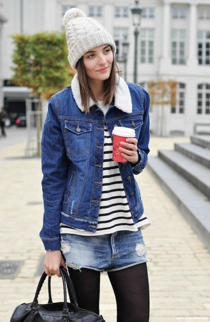 With striped shirt, denim shorts, black tights, beige beanie and black bag