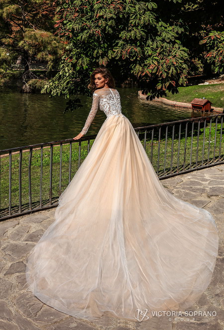 victoria soprano 2018 bridal long sleeves jewel neckline heavily embellished bodice romantic elegant blush color a line wedding dress sheer lace back chapel train (mia) bv