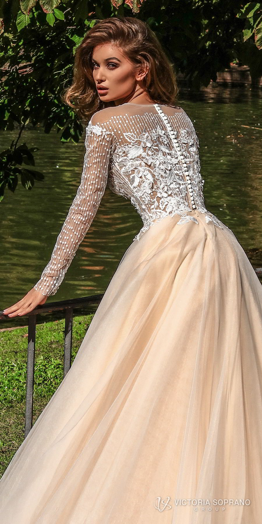 victoria soprano 2018 bridal long sleeves jewel neckline heavily embellished bodice romantic elegant blush color a line wedding dress sheer lace back chapel train (mia) zbv