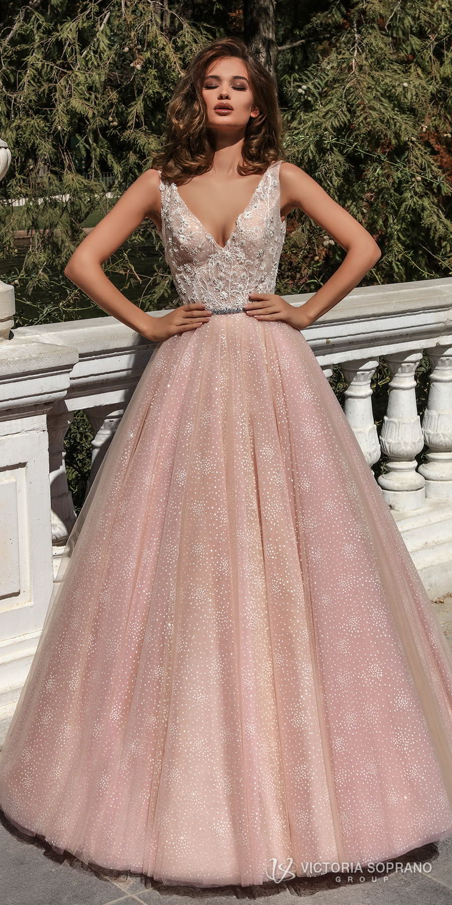 victoria soprano 2018 bridal sleeveless deep v neck heavily embellished bodice romantic pink a line wedding dress open v back chapel train (selesta) mv