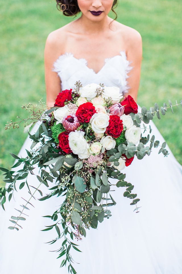 Red and Eucalyptus bridal bouquet