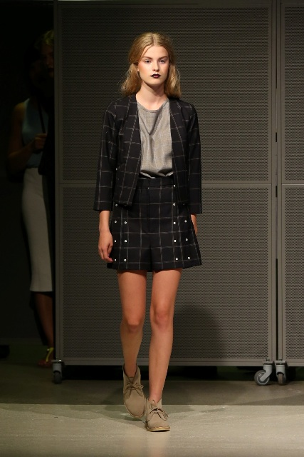 With gray blouse, checked blazer and checked mini skirt