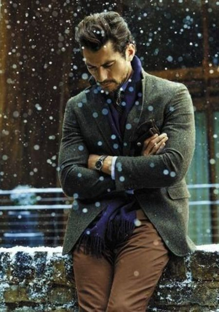 brown pants, a green tweed jacket, a navy scarf for comfy layering