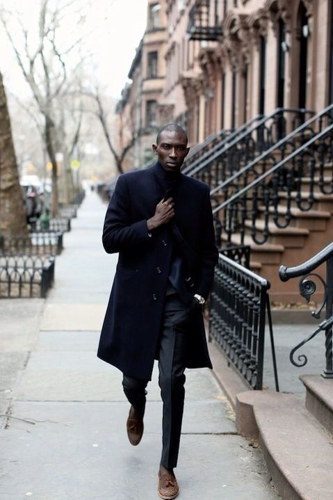 a black suit, a navy coat, brown leather shoes for a gorgeous exquisite look