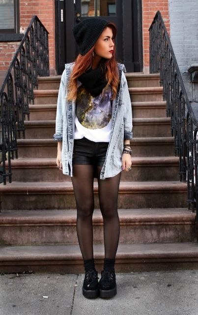With t-shirt, denim jacket, black beanie and platform boots