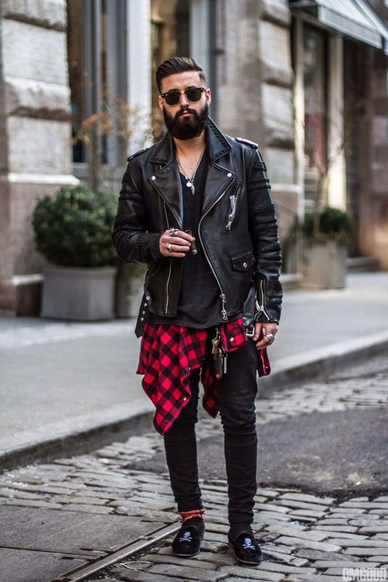 black jeans, a black tee, a plaid shirt, a black leather jacket and suede shoes