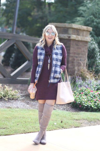 With purple dress, over the knee boots and beige tote