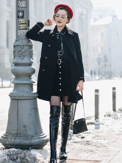 With blouse, mini skirt, black coat, red beret and mini bag