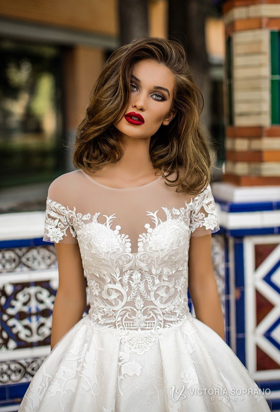victoria soprano 2018 bridal short sleeves illusion jewel sweetheart neckline heavily embellished bodice romantic a line wedding dress with pockets sheer lace back chapel train (vivian) zv