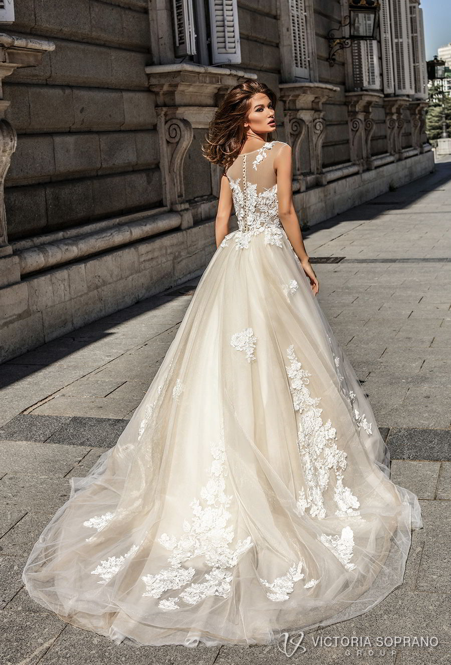 victoria soprano 2018 bridal sleeveless illusion jewel sweetheart neckline heavily embellished bodice romantic blush color a line wedding dress sheer lace back chapel train (selena) bv