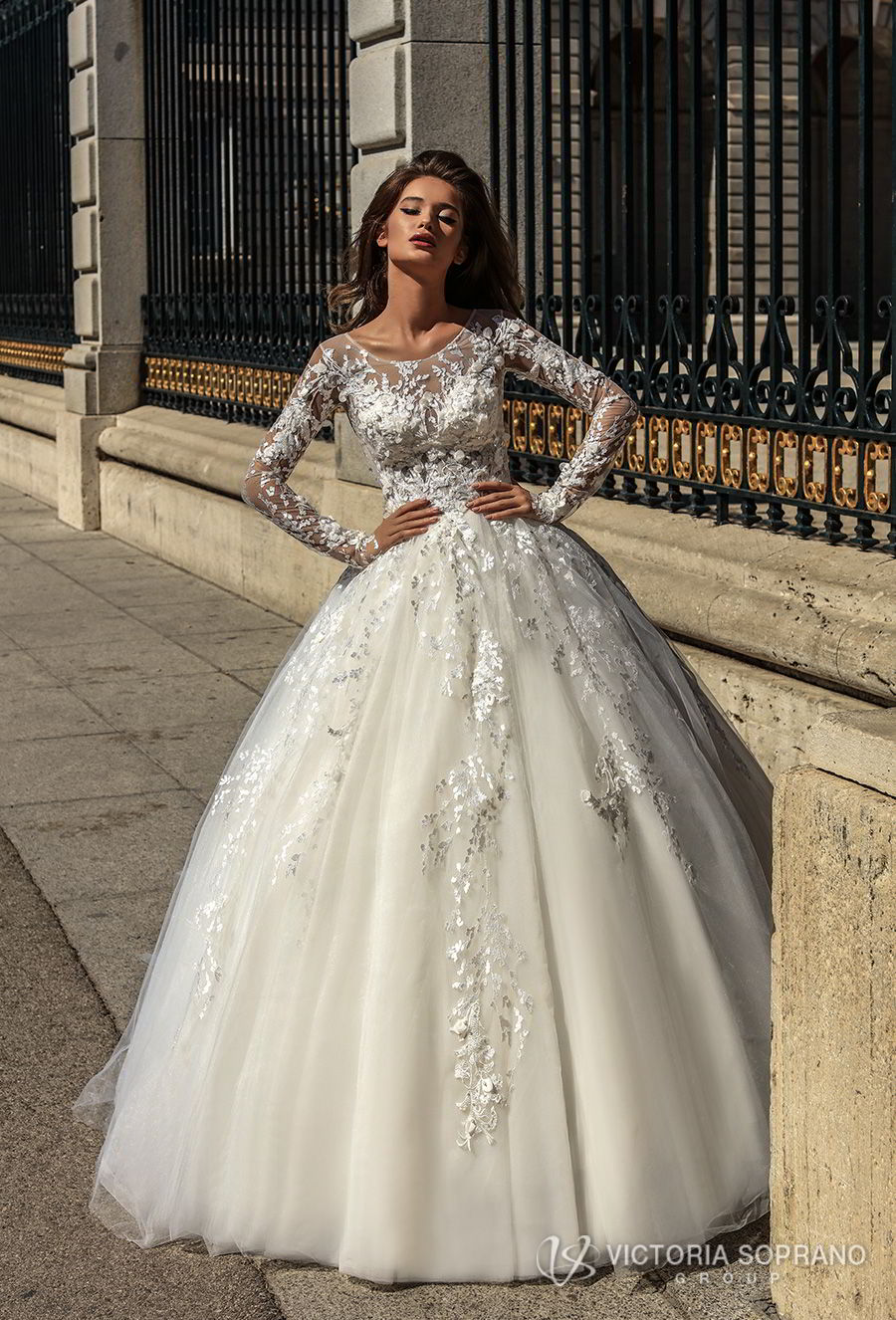 victoria soprano 2018 bridal long sleeves illusion jewel sweetheart neckline heavily embellished bodice princess ball gown a line wedding dress sheer lace back chapel train (felicity) mv