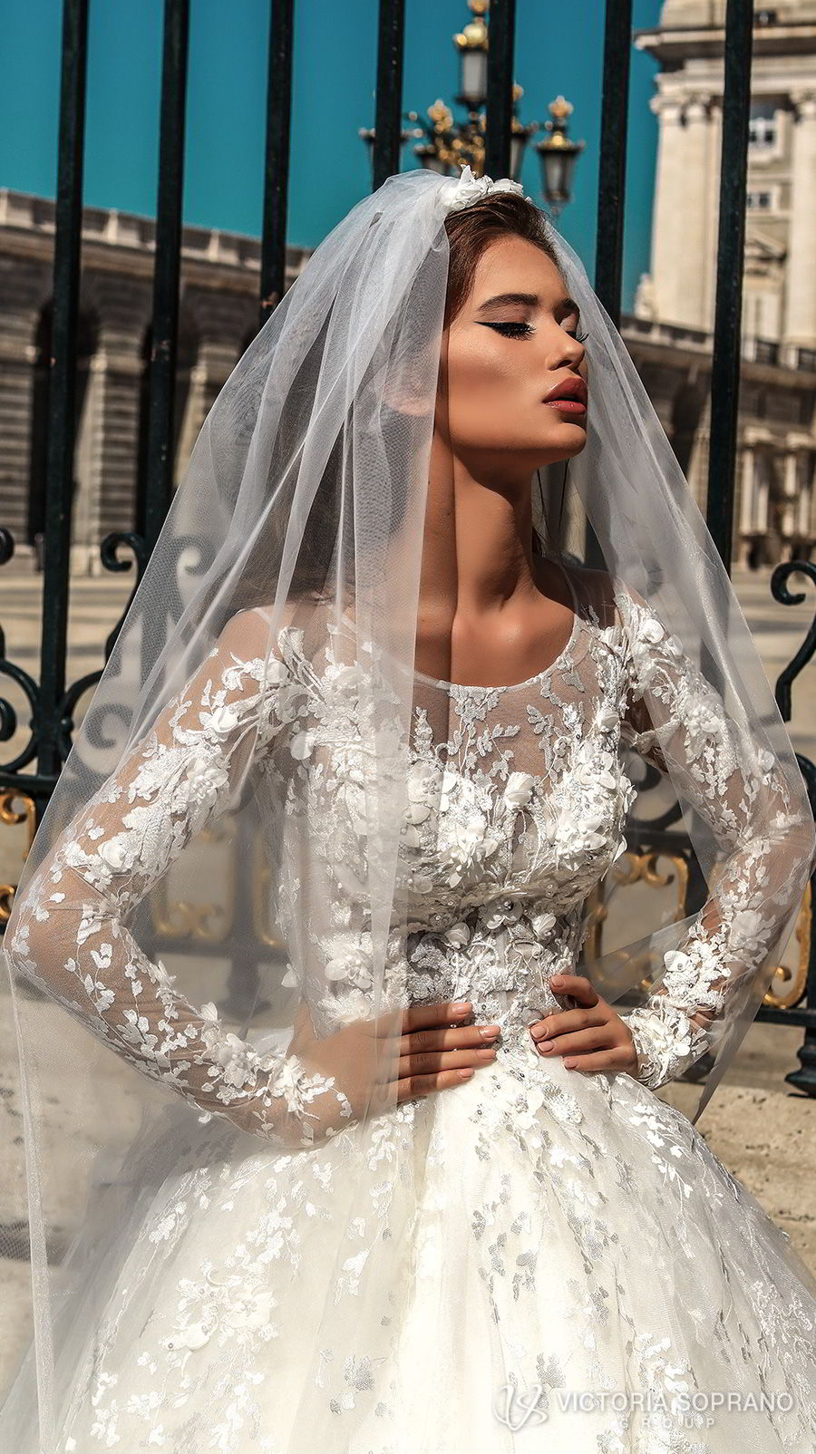 victoria soprano 2018 bridal long sleeves illusion jewel sweetheart neckline heavily embellished bodice princess ball gown a line wedding dress sheer lace back chapel train (felicity) zv
