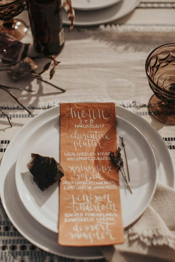 a leather menu will make your place setting interesting