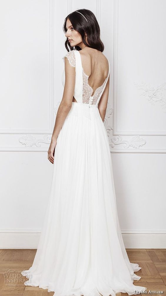 a cutout lace back on buttons looks chic and very romantic, and it matches lace cap sleeves