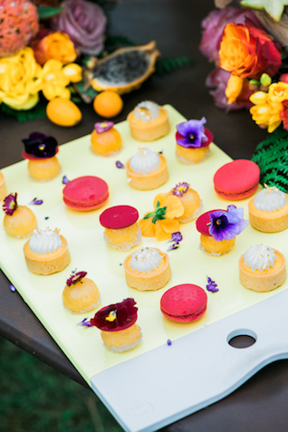 Mini desserts with edible flowers
