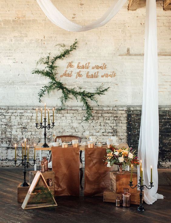 brown leather table runners look amazing in an industrial venue