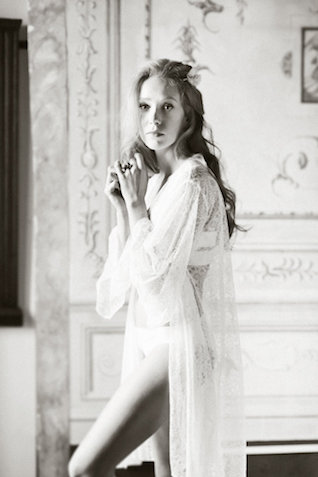 Romantic Italian bridal boudoir session with bridal lingerie from Fine and Fleurie