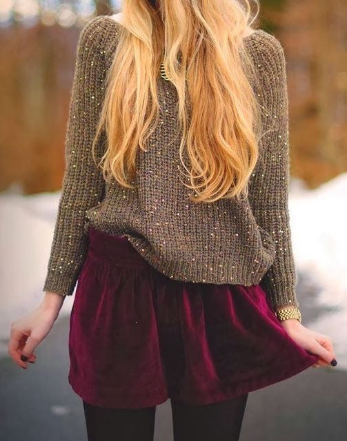street-style-velvet-skirt-maroon-knit-1 Top 70 Fall Outfits for Teen Girls to Copy This Year