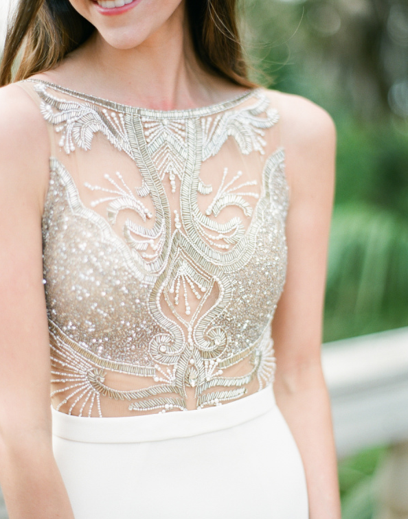 a fantastic illusion embroidered and beaded gold bodice is sure to strike everyone