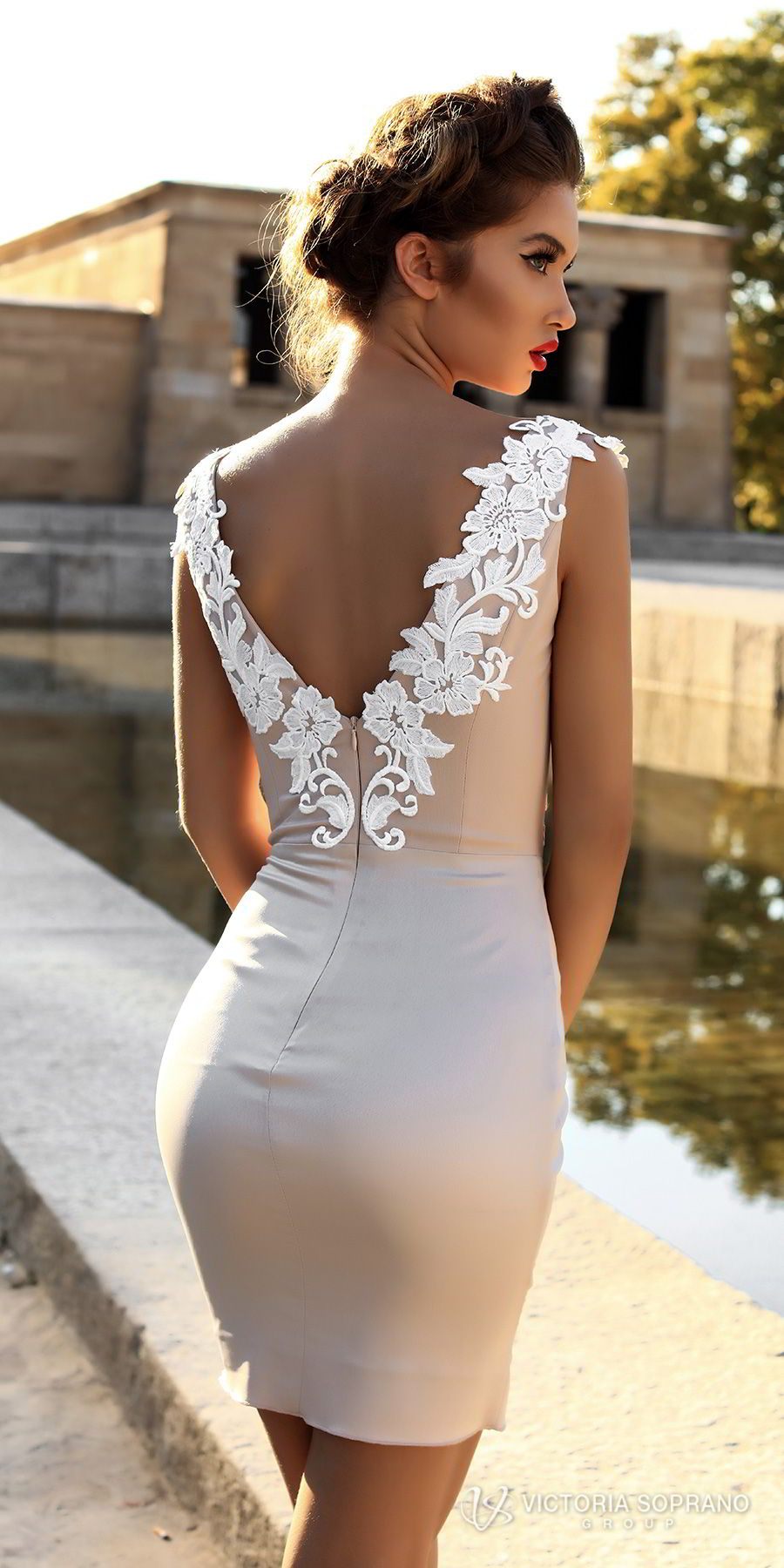 victoria soprano 2018 bridal cap sleeves deep v neck heavily embellished bodice sexy modern mini skirt short wedding dress open v back (leila) zbv