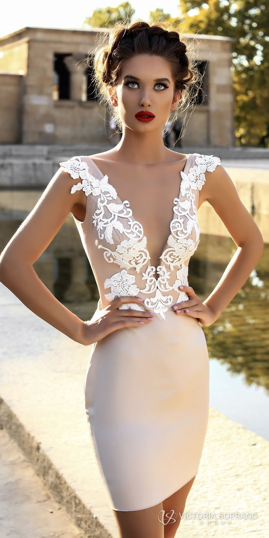 victoria soprano 2018 bridal cap sleeves deep v neck heavily embellished bodice sexy modern mini skirt short wedding dress open v back (leila) zv