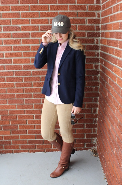 With button down shirt, navy blue blazer, beige skinny pants and brown high boots