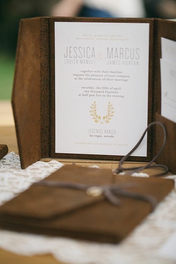 a brown leather invitation book with an invite inside