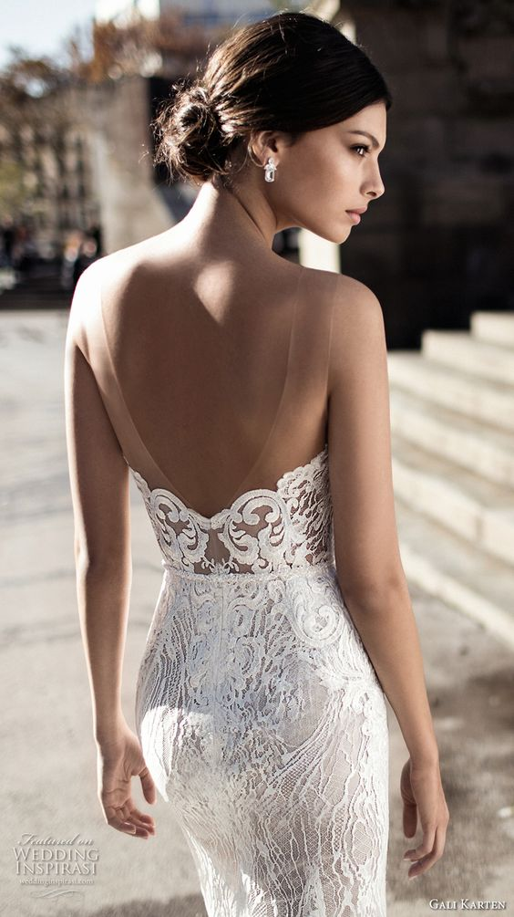 an illusion lace low back with invisible straps will save you from any wardrobe malfunctions and will make the dress comfy to wear