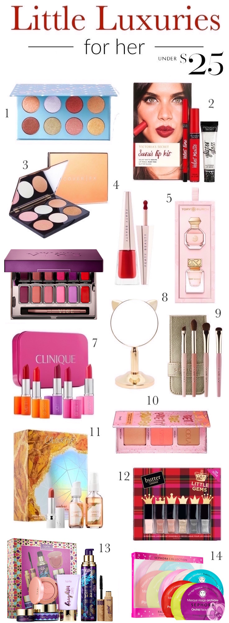 Holiday beauty and makeup gift ideas for friends | Whether you are shopping for your favorite ladies or want to spoil yourself, these beauty gifts under $  25 are sure to impress the beauty obsessed!