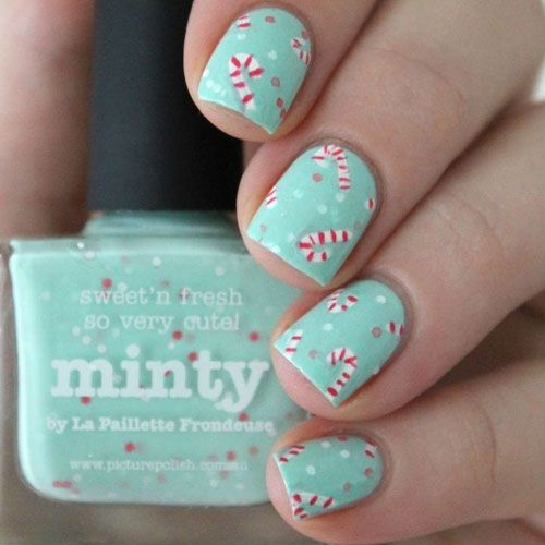 mint manicure with polka dots and candy canes will bring a whimsy and fun touch to your look