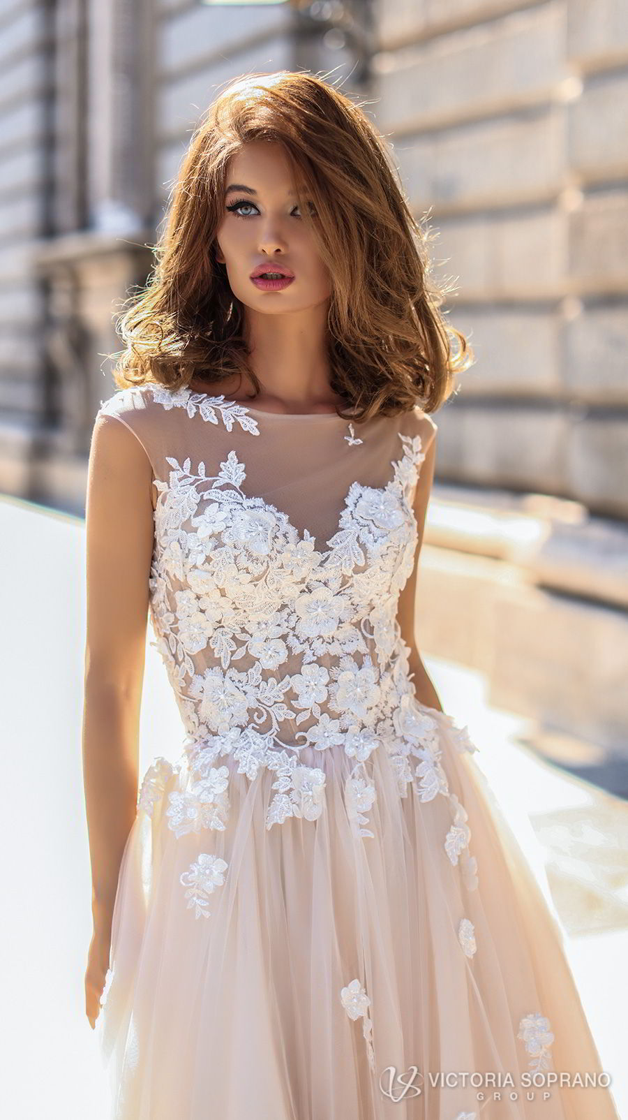 victoria soprano 2018 bridal sleeveless illusion jewel sweetheart neckline heavily embellished bodice romantic blush color a line wedding dress sheer lace back chapel train (selena) zv